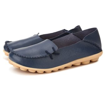 Women Shoes Leather Beanie Flat Shoes Summer Spring Autumn Slip-on Knot Non-slip Woman Ladies Soft Loafers Flats Dark Blue - intl - 4