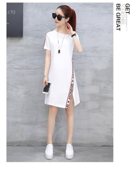 Women summer Dress with a missing shoulder New fashion casualsports in the long package of buttocks Elastic skirt(S size white)- intl