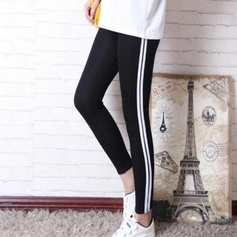 Women Yoga Running Leggings Pants Black Stripe Exercise Tight AnklePants Ladies Gym Sportswear Fitness Trousers - intl