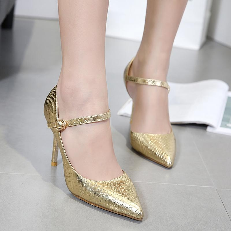 Women's Pointed Toe Open Side High Heels Japanese Shoes Gold - intl .