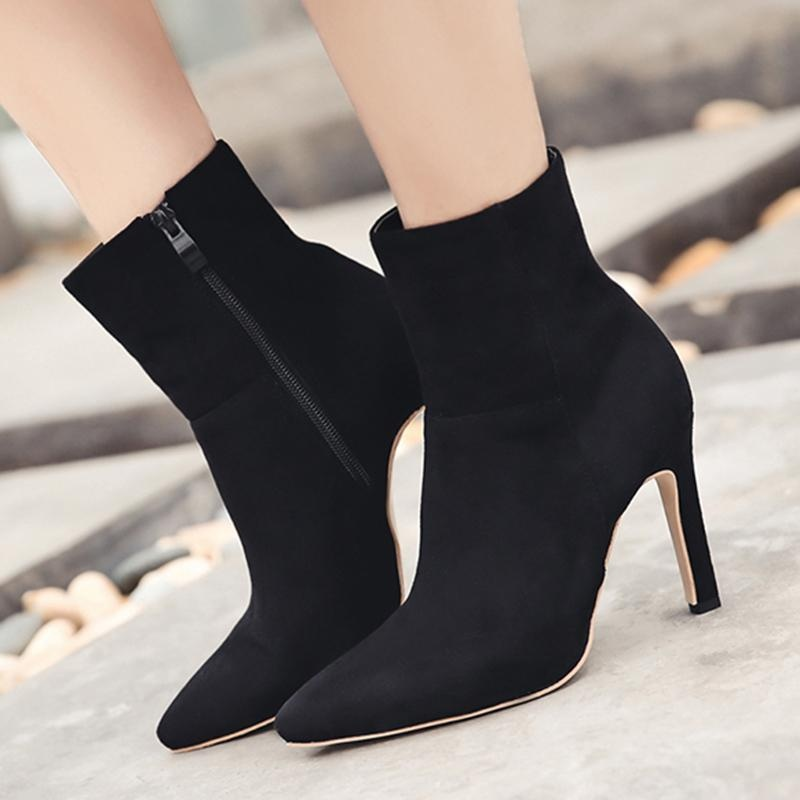 Women's Pointed Toe Stiletto High Heels Korean Party Ankle Boots Black - intl .