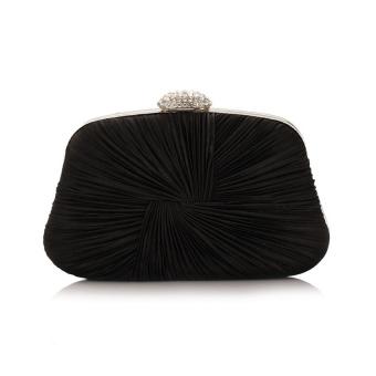 Womens Elegant Crystal Ruched Evening Party Clutch Purse Handbag Shoulder Bag Black intl .
