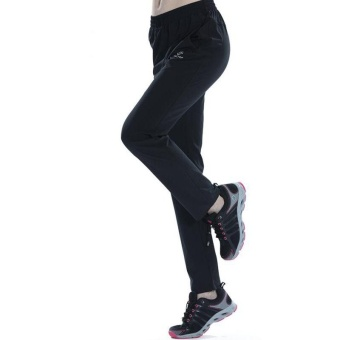 Women's Outdoor Breathable Hiking Mountain Quick Dry Pants ElasticSoft Trousers Spring Summer - BLACK - intl