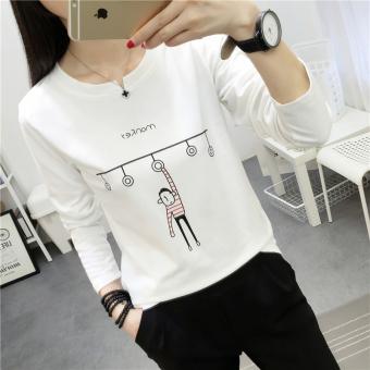 Xianyuansu Kaos Wanita Simpel Lengan Panjang Motif Cetak Banyak Warna (189 ( putih))