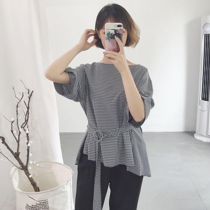 Xiaogezi Korean-style elegant lace LOOESN belt Short sleeve shirt (Gambar .