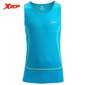 XTEP Brand Men Sleeveless Vest Shirts Tank Top Wicking Gym Sports Running Training Fitness Sports Athletic Vests (Blue) - intl