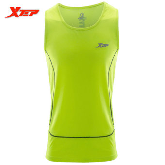 XTEP Brand Men Sleeveless Vest Shirts Tank Top Wicking Gym Sports Running Training Fitness Sports Athletic Vests (Green) - intl