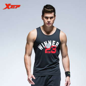 XTEP Brand Men's Breathable Summer Cotton Vest O-Neck Fashion Sporting Tops Tee High Quality Athletic Tennis Gym Tennis Vest (Black)