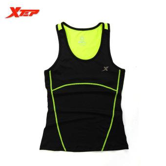 XTEP Women Running Fitness Sleeveless Vest Summer Style Yoga Shirts Top Quick-Drying Female Women Gym Sport Shirt (Black) - intl - 2