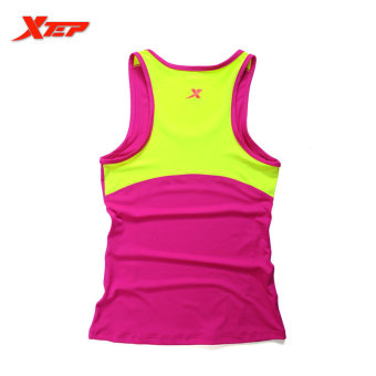 XTEP Women Running Fitness Sleeveless Vest Summer Style Yoga Shirts Top Quick-Drying Female Women Gym Sport Shirt (Rose)