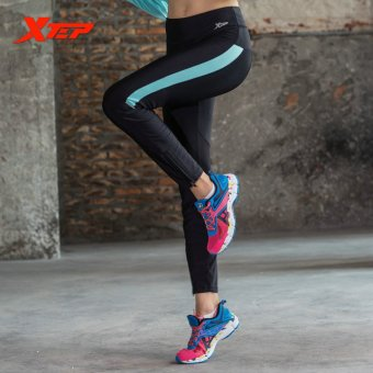 XTEP Women's Sports Running Pants for Exercise Fitness Gym Tight Trousers Moisturizing Wicking Ladies Yoga Pants (Black/Blue) - intl
