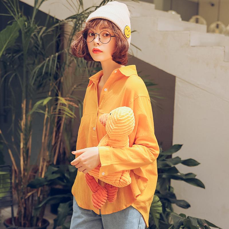 Yang chic Korea perempuan lengan panjang musim gugur baru warna solid blus kemeja (Kuning)