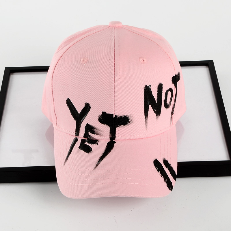 Flash Sale Yang dilukis dengan tangan grafiti topi baseball musim panas pria dan wanita hip-hop hip-hop topi topi kasual (Dilukis dengan tangan yeno merah ...