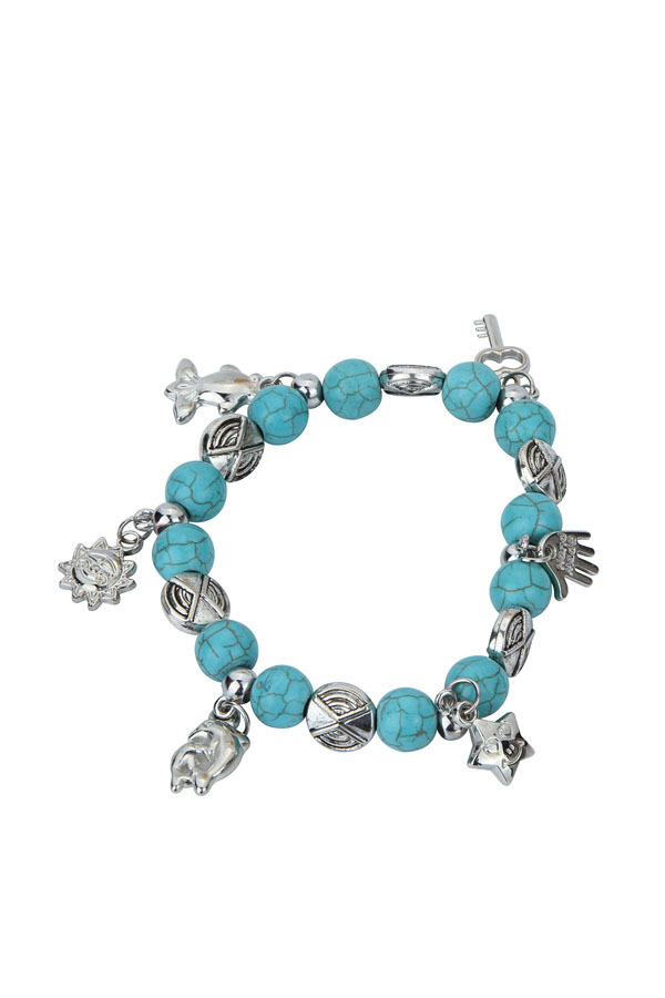 Yazilind Fashion Jewelry Turquoise Bead Tibetan Silver Pendant Various Dangle Bracelet