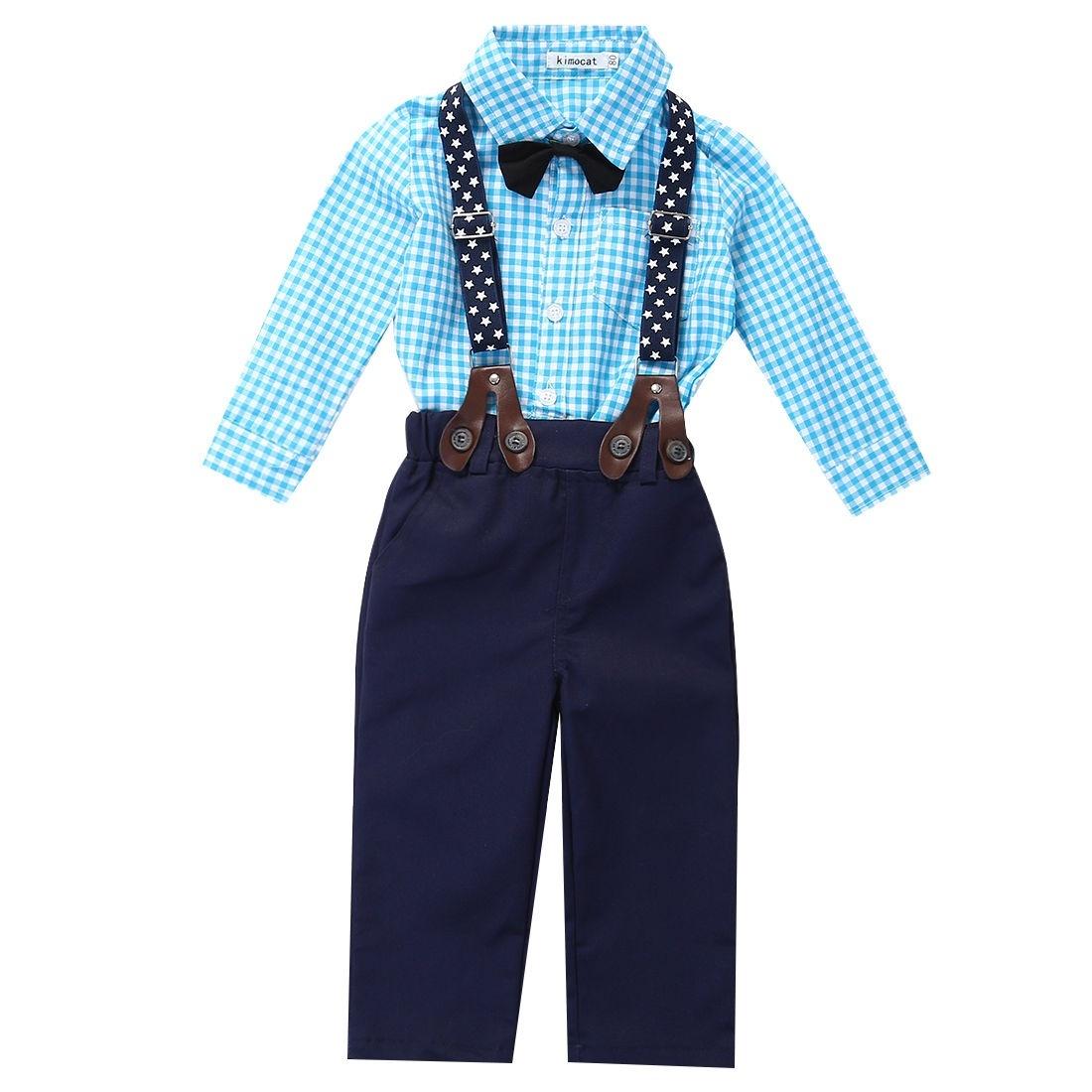 ... YBC anak laki laki 2 buah baju kemeja kotak kotak set Pants taliselempang