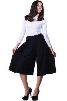Detail Gambar Yoorafashion Celana Kulot Wanita - Layer Cullotes Pants [Black Hitam] Terbaru