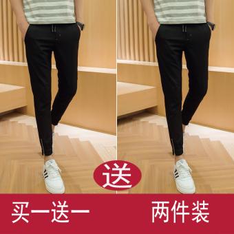 Youth tapered leg pants Slim fit pants (K006 hitam + K006 hitam)