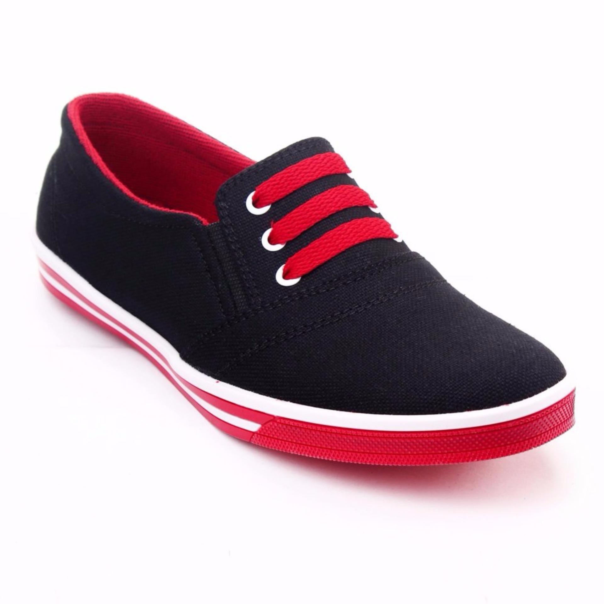... Yutaka Sepatu Kets Sneakers Hitam-Merah ...