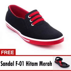 Yutaka Sepatu Kets Sneakers Hitam-Merah Free Footage Sandal Pria F- 01 Hitam Merah