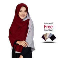 Zannah Hijab New Daily Hijab Murah Jilbab Segi4 Kombinasi Segi Empat Persegi Segiempat Dua Warna Kanan dan Kiri Atasan Dress Gamis Syari Untuk Wanita Muslimah Ibu Pengajian Bahan Wolfis Premium Grade A - Free Inner