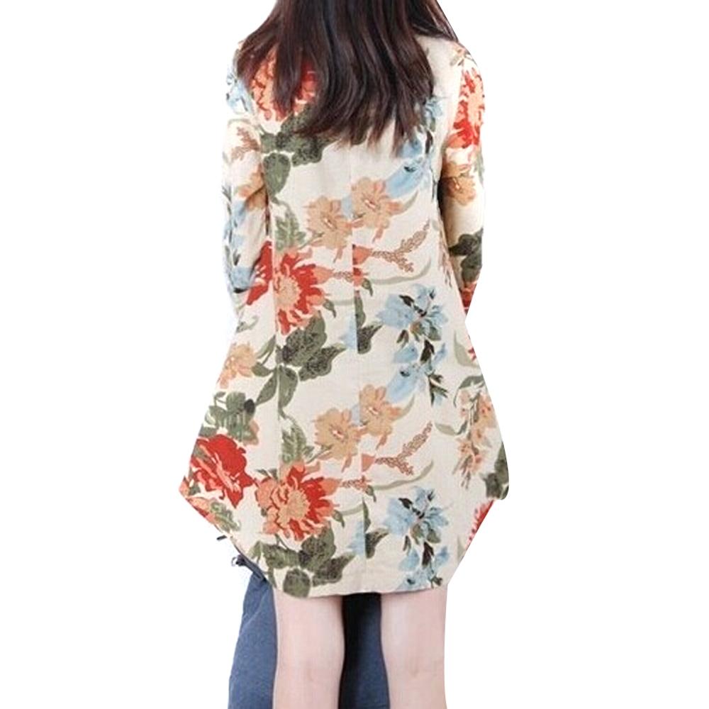 ZANZEA baru linen lengan baju seksi wanita bunga panjang v-leher pendek .
