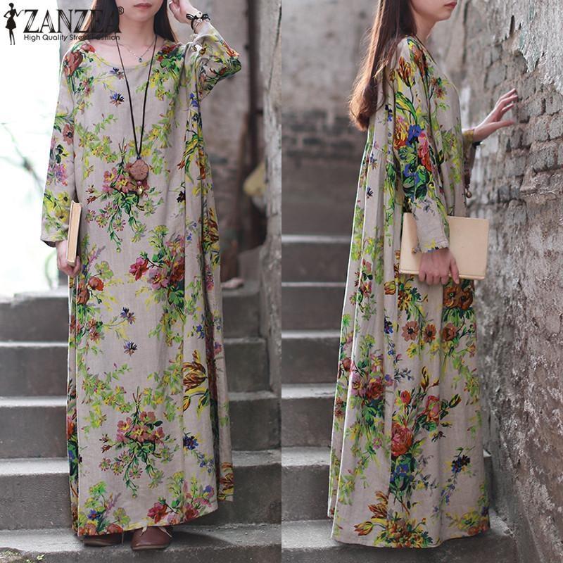 ... ZANZEA Spring Vintage Floral Print O-Neck Long Sleeve Autumn Women Loose Casual Kaftan Party ...
