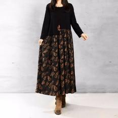 ZANZEA wanita kasual elegan gaun model baju panjang longgar lengan musim 2016 cetak sambatan sprei katun