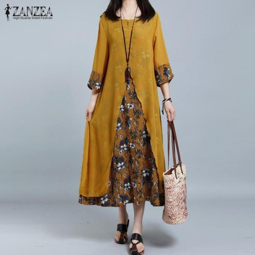 ... ZANZEA Women Retro Floral Print Splice Loose Casual Long Shirt Dress Summer Ladies 3/4 ...