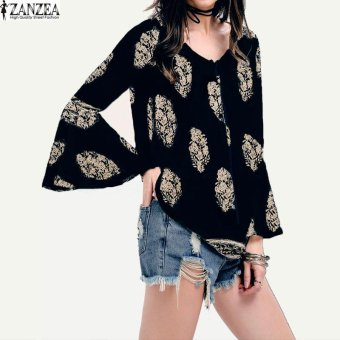 ZANZEA Womens Lace-Up V-Neck Shirt Oversized Boho Floral PrintFlare Sleeve Casual Loose Blouse Tops (Navy) - intl