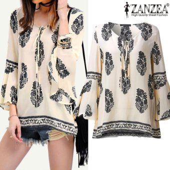 ZANZEA Womens Lace-Up V-Neck Shirt Oversized Boho Floral PrintFlare Sleeve Casual Loose Blouse Tops (OffWhite) - intl