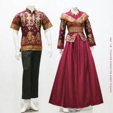 Zaviera Batik Couple Sarimbit Gamis Baju Pesta Belvania - Merah