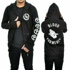 zims jaket hoodie zipper blood for mercy black