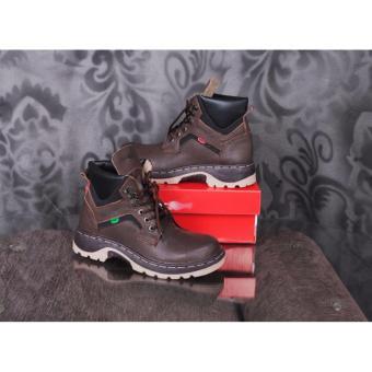 ZimZam Amu Kalong Sepatu Boots Pria - Kulit Asli Brown - 3