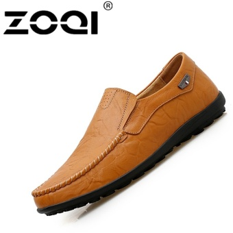 ZOQI Big Size Driving Shoes Slip-Ons & Loafers Leisure Casual Flat Shoes (Yellow) - intl