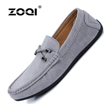 ZOQI man's Slip-Ons&Loafers fashion cow suede leather Shoes(Grey) - intl