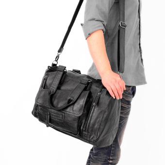 Korea Fashion Style pria dan wanita mode tas travel pria tas bahu (Hitam B33)
