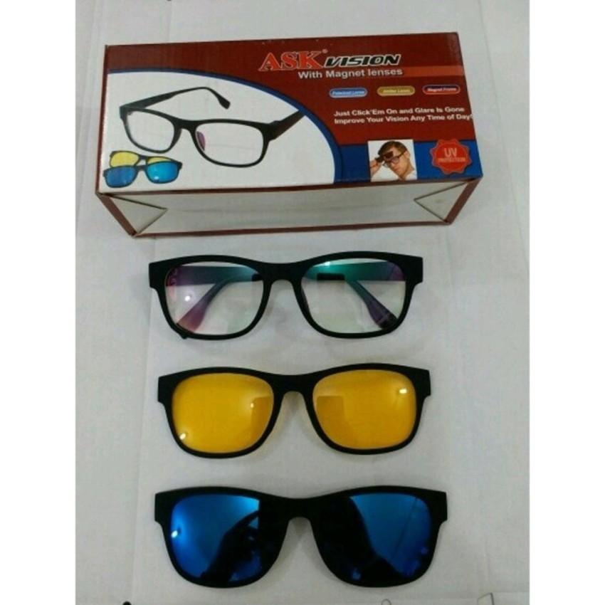 1 Kacamata 3 Frame Lensa   Kacamata Anti Silau ASK Vision 3 In 1 Magnet  Lenses f8174448a1