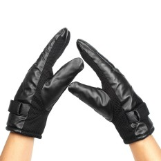 Rp 91.000 1 Pair Winter Gloves Motorcycle PU Leather Gloves Keep Warm Fashion Motorbike Scooter Cycling Full Finger Touch Screen Glove Black - intlIDR91000