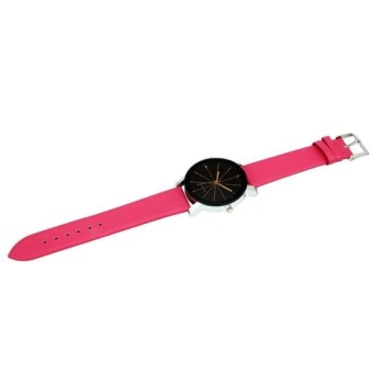 1 PC pria Quartz Dial Clock kulit Wrist Watch bulat case Rose Red - 2