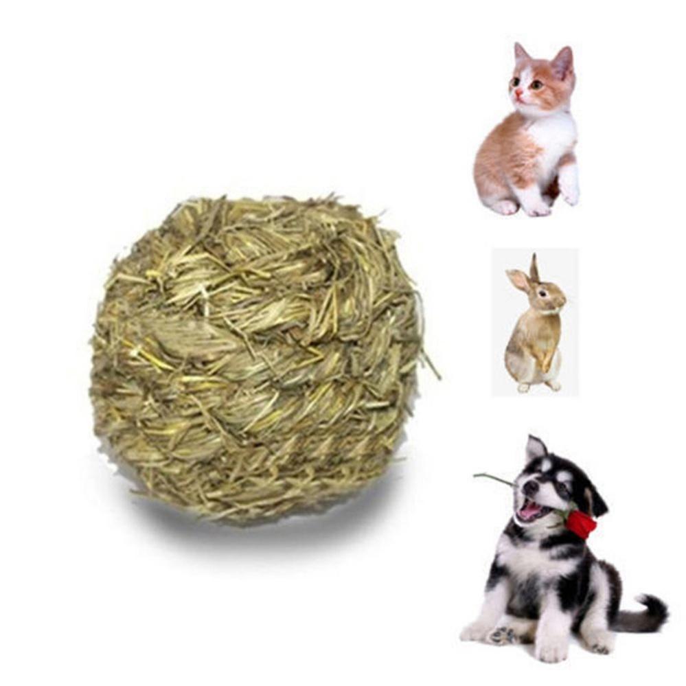 10cm Pet Chew Play Toy Grass Ball with Bell for Rabbit HamsterGuinea Pig Rat Grass Green 10cm - intl
