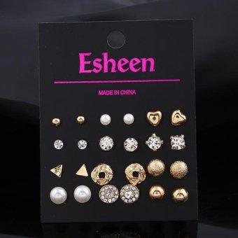 12 pasangan/set Fashion Pearl Crystal jantung Stud Earring Set Women gadis sederhana lucu elegan