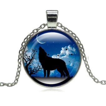 1pcsWolf Totem Time Gemstone Necklace Glass Pendant Silver PlatedSweater Chain - intl