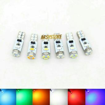 2 Biji Lampu Led T5 3014 5 titik Metal soket Speedo Panel Dashboard Mobil Motor - Ice Blue - 3