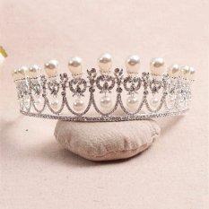 2 Buah Baru Putri PEARL Austria Kristal RHINESTONE TIARA CROWN Pernikahan PROM USA Perak Rambut-