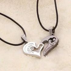 [2 pcs] Kalung Pasangan Couple untuk Pria Wanita Model Hati