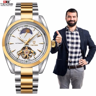 2017 NEW TEVISE Men Watches Gold Mesh Steel Automatic Mechanical Watch Luxury Brand Waterproof Men Watch Calendar Clock Relogio Masculino 795b - intl