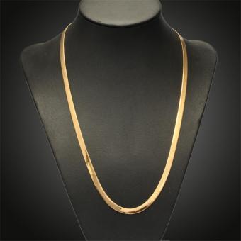 harga 24 inci 7 mm 24 karat kuning berlapis emas perhiasan pria kalung rantai klasik Afrika, 60 cm - International Lazada.co.id