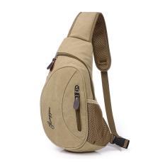360DSC kanvas wisata untuk luar ruangan tas pria dada tas pinggang tunggal tas bahu - Dril