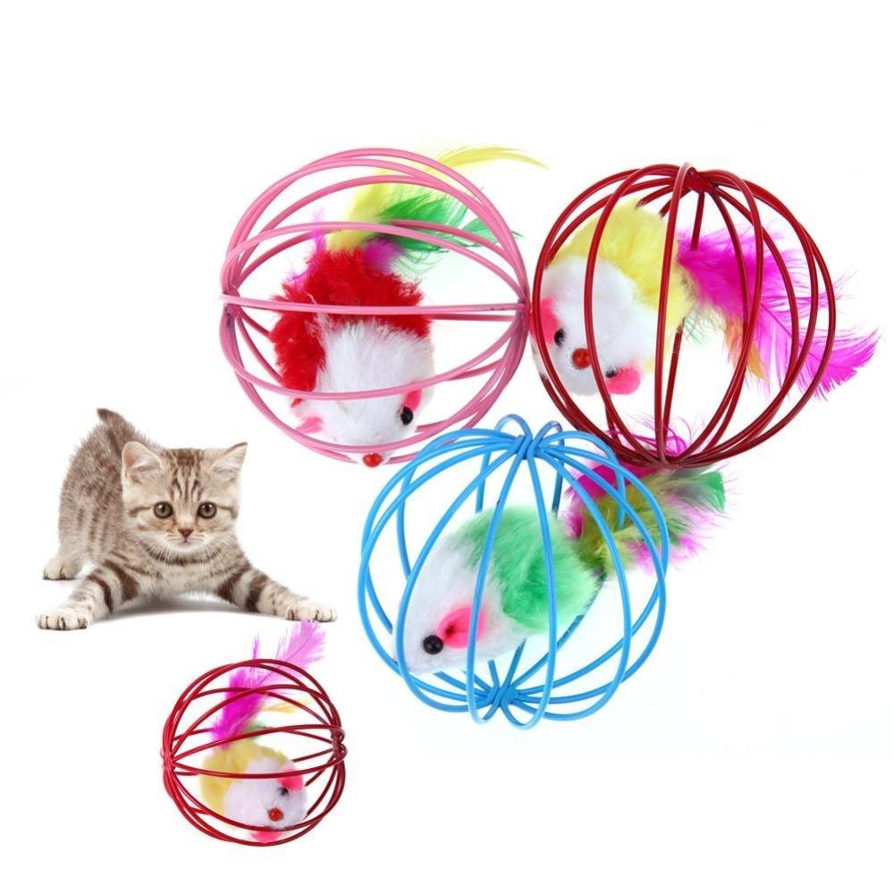 Harga Termurah 3pcs Lucu Pet Kitten Kucing Bermain Palsu Bulu Mouse Mainan Tikus Bola Cage Acak Warna