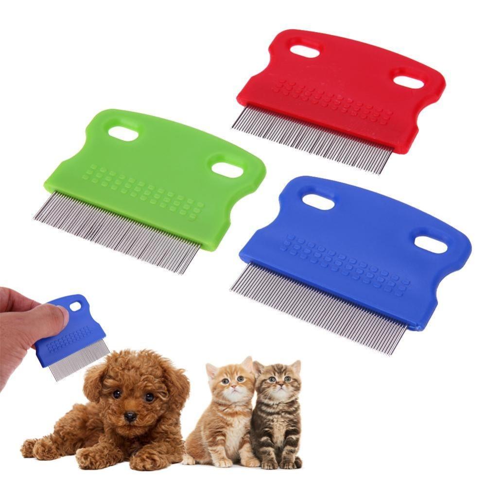 3pcs Pet Hair Flea Removal Comb Stainless Steel Teeth Hair Brush Grooming - intl